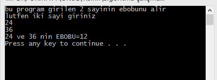 c++ ebob hesabı